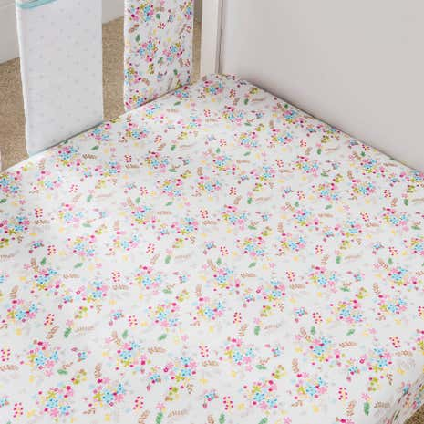 Ditsy Floral Cot Bed Fitted Sheets 2 Pack