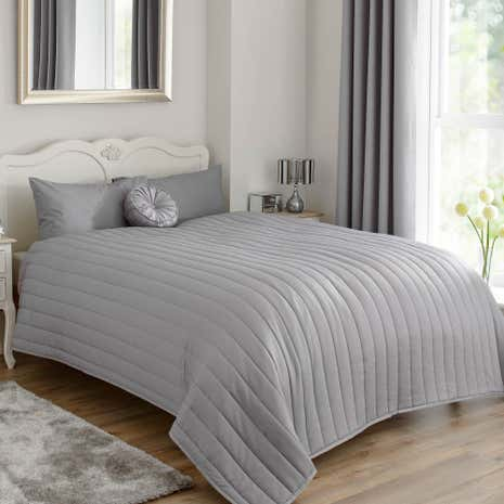Dark Grey Matt Satin Bedspread