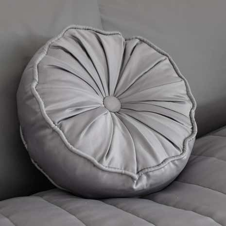 Dark Grey Matt Satin Round Cushion