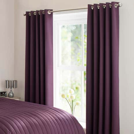 Plum Matt Satin Blackout Curtains
