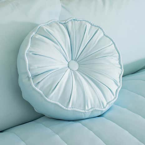 Duck Egg Matt Satin Round Cushion