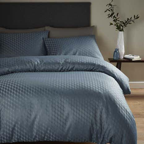 Geo Jacquard Navy Duvet Cover and Pillowcase Set