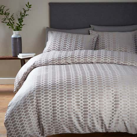 Triton Jacquard Grey Duvet Cover Set