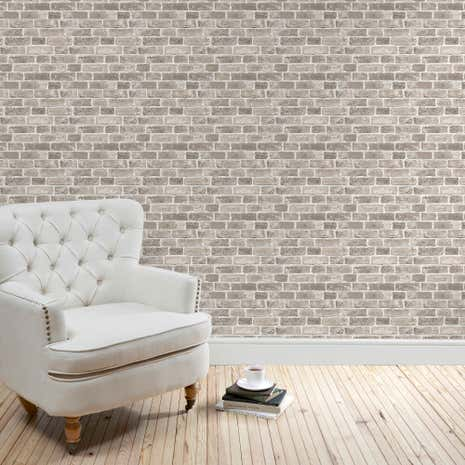 Brick grey wallpaper dunelm for Grey brick wallpaper bedroom