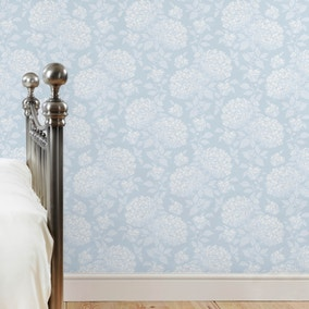 Dorma Blue Hydrangea Wallpaper