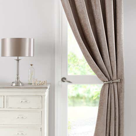 Chenille Taupe Lined Pencil Pleat Door Curtain