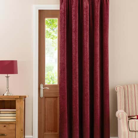 Chenille Wine Thermal Pencil Pleat Door Curtain