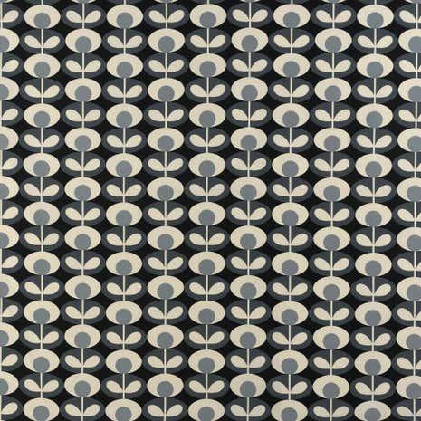 Orla Kiely Cool Grey Oval Flower Fabric
