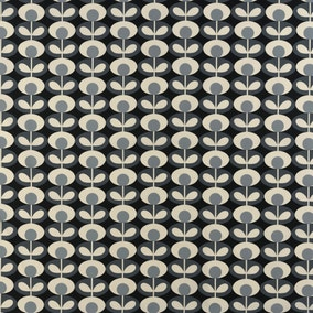 Orla Kiely Cool Grey Oval Flower Fabric