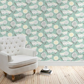 Emmott Teal Wallpaper