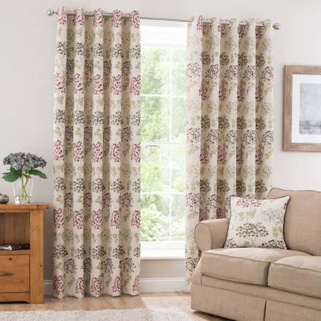 Bloom Berry Lined Eyelet Curtains