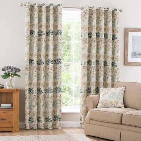 Bloom Teal Lined Eyelet Curtains