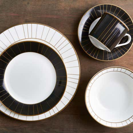 Majestic Black 40 Piece Fine China Dinner Set