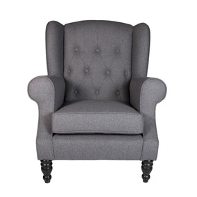 Chartwell Charcoal Button Back Armchair