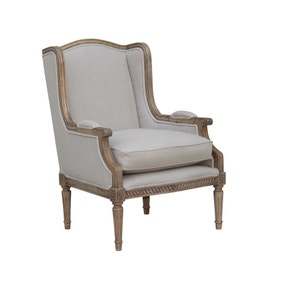 Celine Natural Linen Wingback Chair
