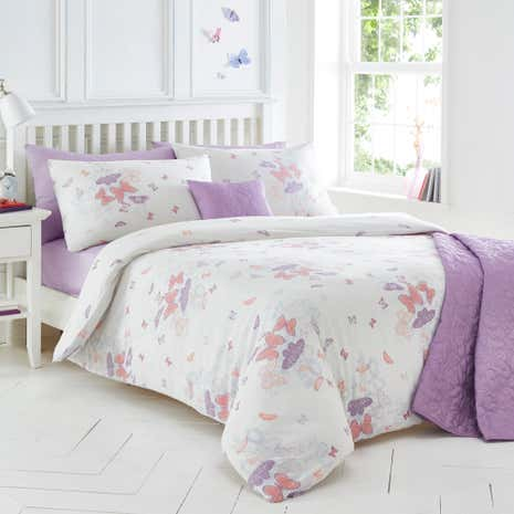 Spray Butterfly White Duvet Cover and Pillowcase Set