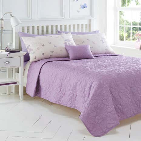 Spray Butterfly Purple Bedspread