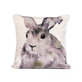 Watercolour Rabbit Cushion