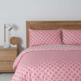 Essentials Coral Polka Dot Reversible Duvet Cover Set