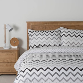 Essentials Grey Zig Zag Duvet Cover Set