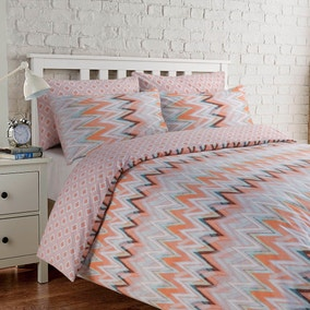 Zig Zag Orange Duvet Cover Set