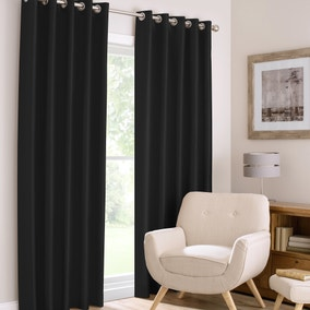 Montana Black Lined Eyelet Curtains