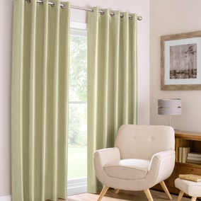 Montana Green Lined Eyelet Curtains