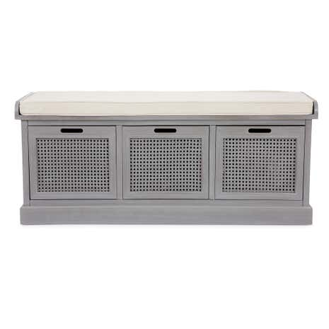 Lucy cane grey storage bench dunelm Gray storage bench
