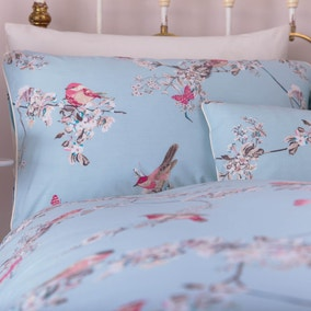 Beautiful Birds Duck-Egg Housewife Pillowcase