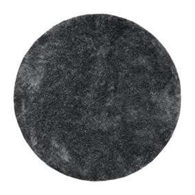 Charcoal Indulgence Circle Shaggy Rug