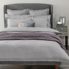 Hotel Herringbone Grey Duvet Cover and Pillowcase Set