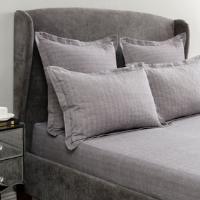 Hotel Herringbone Grey 32cm Fitted Sheet