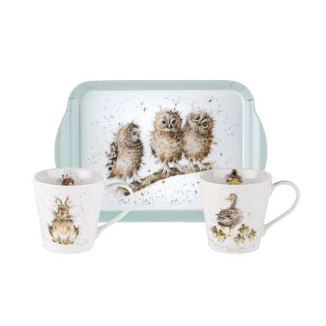 Royal Worcester Wrendale 2 Mugs and Tray Set
