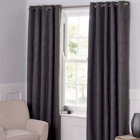 Boucle Charcoal Blackout Curtains