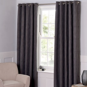 Boucle Charcoal Blackout Curtains