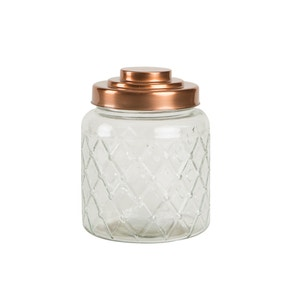 T&G Squat Glass Jar with Copper Lid