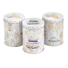 Top Cats Pack of 3 Tin Canisters