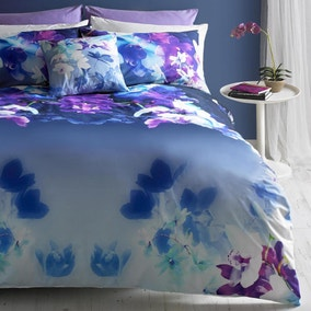 Lipsy Digitally Printed 100% Cotton Mirrored Orchid Duvet Cover and Pillowcase Set