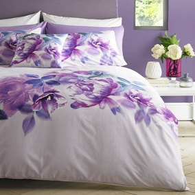 Lipsy Translucent Bloom Digitally Printed 100% Cotton Duvet Cover and Pillowcase Set