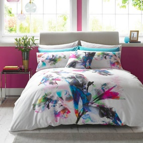 Lipsy 100% Cotton Watercolour Lily Duvet Cover and Pillowcase Set