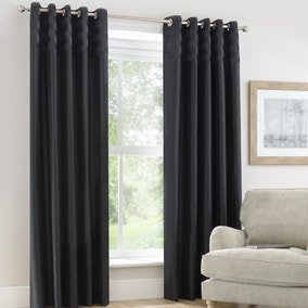 Atlanta Black Lined Eyelet Curtains