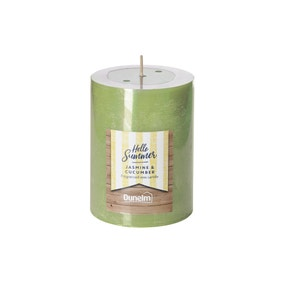 Jasmine and Cucumber Flat Top Pillar Candle