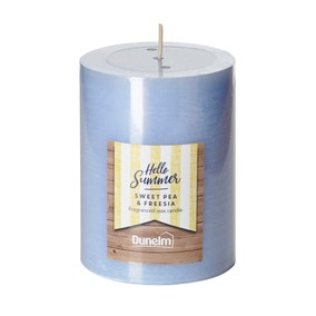 Sweet Pea and Freesia Flat Top Pillar Candle