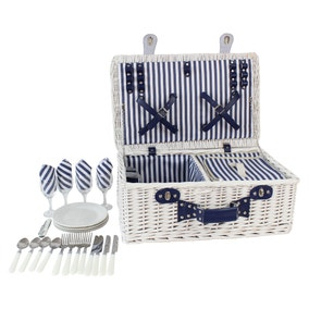 Four Person White Picnic Hamper