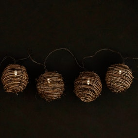 Natural Wicker Ball String Lights