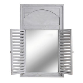 Grey Wall Mirror with Shutters