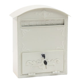 Metal Post Box Cream
