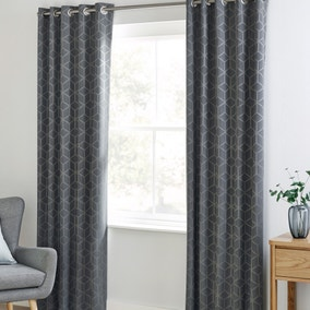 Jasper Geo Grey Blackout Eyelet Curtains