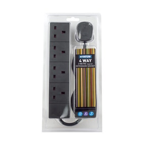 Status Black 4-way 2 Metre Extension Socket