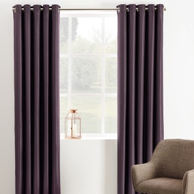 Phoenix Aubergine Blackout Eyelet Curtains